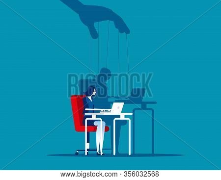 Business Woman And Shadow As Puppet. Concept Business Puppet Vector Illustration, Control Dictator.