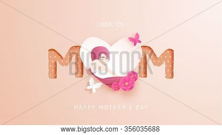 Happy Mother's Day Poster Or Banner With Mother Hug Her Baby And Flower And Paper Cut Style. Shoppin
