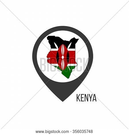 Map Pointers With Contry Kenya. Kenya Flag. Stock Vector Illustration Isolated On White Background.