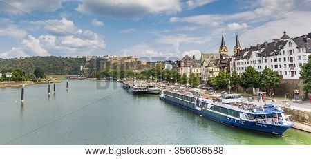 Koblenz, Germany - August 03, 2019: Panorama Of Cruise Ships In Front Of The Skyline Of Koblenz, Ger