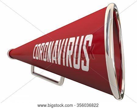 Coronavirus Bullhorn Megaphone COVID-19 Outbreak Pandemic 3d Illustration