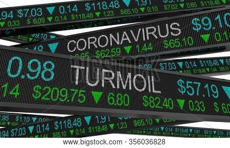 Coronavirus Stock Market Crash Turmoil COVID-19 Outbreak Pandemic 3d Illustration