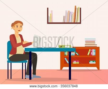 Pregnant Woman Sitting On Chair By Table At Office. Future Mother Working On Laptop And With Paper D
