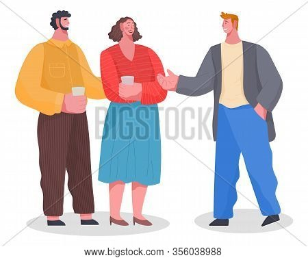 Three Friends Have Conversation On Home Reception. Banquet, Dinner Or Lunch, With Food And Drinks. F