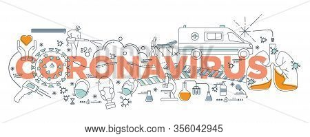 Hand Drawn Doodle Epidemiology Concept, Coronavirus Disease Covid-19 Infection Vector Medical Illust