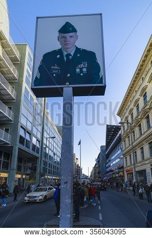 Berlin, Germany - February 9, 2020 : Checkpoint Charlie. Berlin Wall Crossing Point Between East Ber