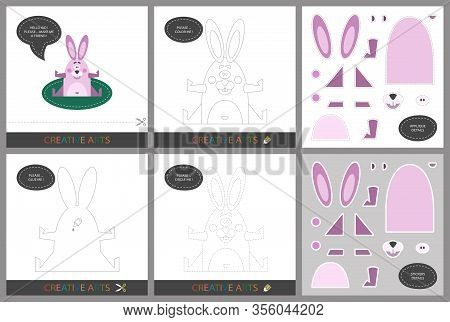 Fun Lessons. Set Of Cards For Child Creativity. Original Funny Rabbit, Coloring Book, Character Conn