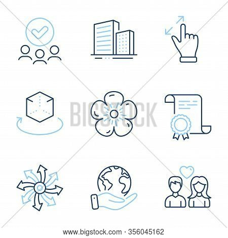 Buildings, Versatile And Couple Love Line Icons Set. Diploma Certificate, Save Planet, Group Of Peop