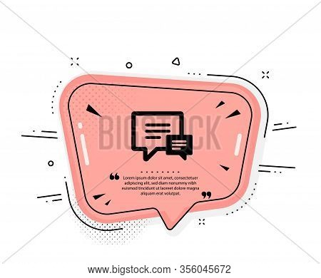 Chat Icon. Quote Speech Bubble. Speech Bubble Sign. Communication Or Comment Symbol. Quotation Marks