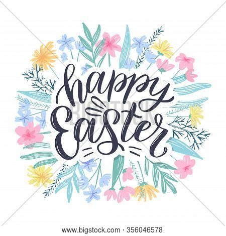 Happy Easter Greeting Card. Easter Spring Hand Drawn Flowers Background. Decorative Floral Easter Fr