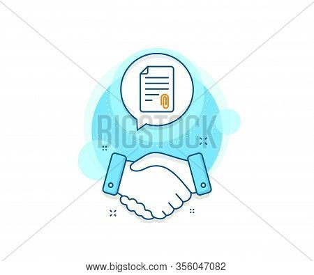 Document File Symbol. Handshake Deal Complex Icon. Cv Attachment Line Icon. Agreement Shaking Hands
