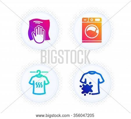 Dry T-shirt, Washing Cloth And Washing Machine Icons Simple Set. Button With Halftone Dots. Dirty T-
