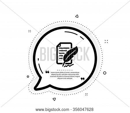 Feather Signature Icon. Quote Speech Bubble. Copywriting Sign. Feedback Symbol. Quotation Marks. Cla