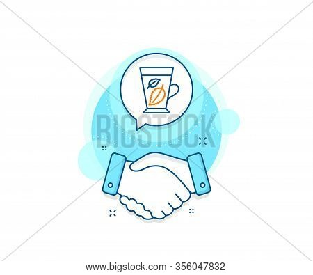 Fresh Herbal Beverage Sign. Handshake Deal Complex Icon. Mint Tea Line Icon. Mentha Leaves Symbol. A
