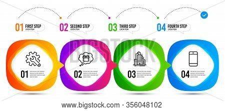 Gift Dream, Skyscraper Buildings And Smartphone Line Icons Set. Timeline Steps. Customisation Sign.