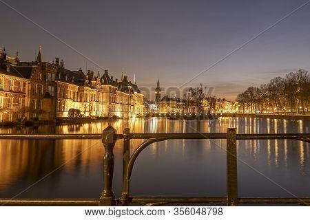 The Hague - February 17 2019: The Hague, The Neherlands. Binnenhof Castle, Dutch Parliament. During
