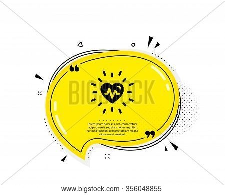 Heartbeat Icon. Quote Speech Bubble. Medical Hear Beat Sign. Medicine Symbol. Quotation Marks. Class