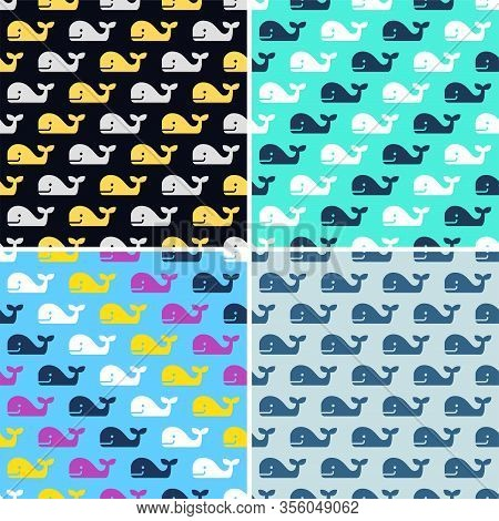Vector Set Of Whale Fish Seamless Patterns. Simple Drawing Of Happy Colorful Whales With No Sea Wave