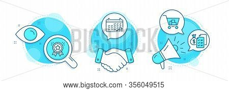 Internet Shopping, Calendar Graph And Accounting Wealth Line Icons Set. Handshake Deal, Research And