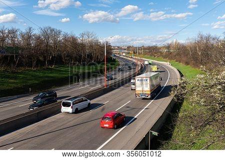 Vienna, Austria - March 12, 2020: Traffic On The A23 Motorway In Vienna (austria) On A Sunny Day In