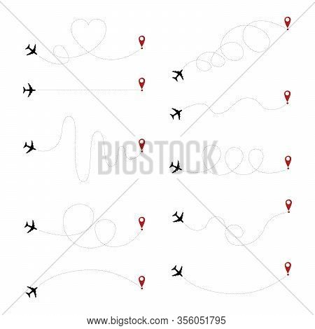 Airplane Dotted Path, Aircraft Tracking, Trace Or Road Vector Illustration. Aircrafts And Pins Vecto