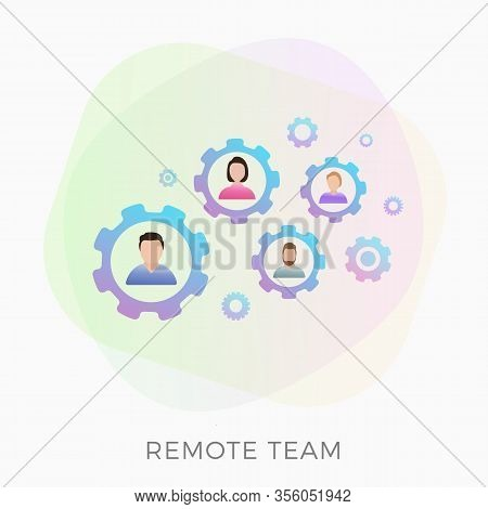 Remote Team Vector Flat Icon Concept. Distance Teamwork Business, Collaboration Of Nomades And Remot