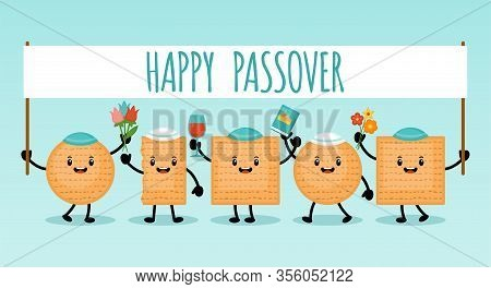 Passover Holiday Banner Design With Matzah Funny Cartoon Characters. Vector Illustration