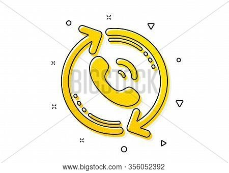 Recall Support Sign. Call Center Service Icon. Feedback Symbol. Yellow Circles Pattern. Classic Call