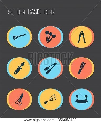 Cutlery Icons Set With Oyster Knife, Turner, Tongs And Other Cutlery Elements. Isolated Vector Illus