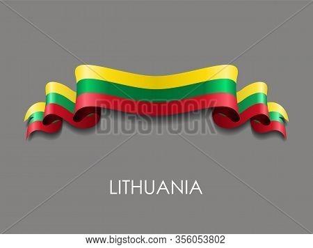Lithuanian Flag Wavy Ribbon Background. Vector Illustration.
