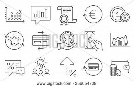 Set Of Finance Icons, Such As Infographic Graph, Usd Coins. Diploma, Ideas, Save Planet. Payment Met