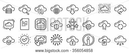 Set Of Hosting, Computing Data And File Storage Icons. Cloud Data And Technology Line Icons. Archive