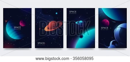Space Poster Set. Outer Space Background With Place For Text. Cosmos Scenes With Planets, Stars, Com