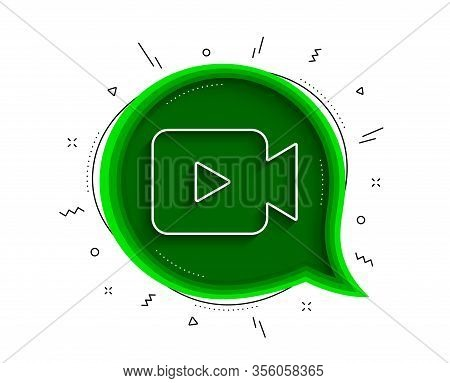 Video Camera Line Icon. Chat Bubble With Shadow. Movie Or Cinema Sign. Multimedia Symbol. Thin Line