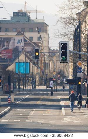 Ljubljana, Slovenia - March 17, 2020: Working Traffic Lights In Downtown Ljubljana, Slovenia On Near