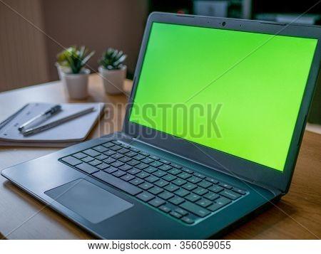 Home Office Work Remote Desktop Greenscreen Chroma Background Laptop Chromebook