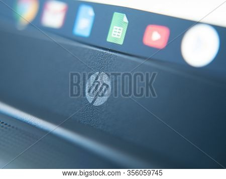 March 2020, Uk: Hp Hewlett Packard Logo On Laptop Close Up Chromebook Chrome Os With Google Apps