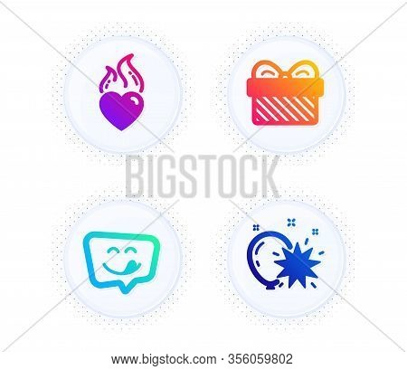 Yummy Smile, Gift And Heart Flame Icons Simple Set. Button With Halftone Dots. Balloon Dart Sign. Em