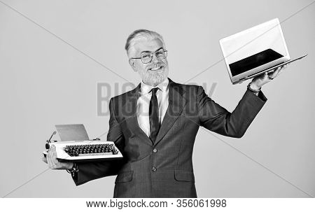 Educational Site. Computer Or Typewriter. New And Old Technology. Modern Digital Business. Vintage T