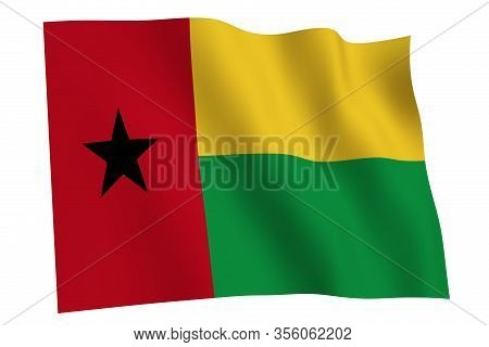 Guinea-bissau Flag, 3d Render. Flag Of Guinea-bissau Waving In The Wind, Isolated On White Backgroun