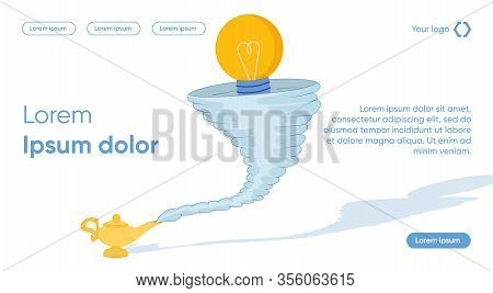 Tornado Funnel To Attract Fresh Innovative Ideas With Businessman Character. Business Technology For