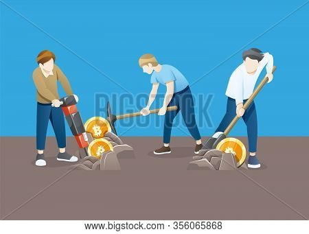 Vector Illustration Bitcoin Mining Concept. Cryptocurrency Concept With Young Man Miner And Coins. P