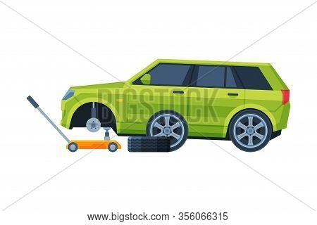 Tire Wheel Changing, Auto Service, Road Accident Flat Vector Illustration