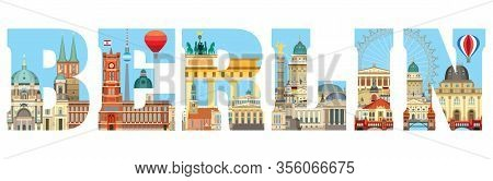 Horizontal Colorful Berlin Travel Lettering With Architectural Landmarks. Front View Berlin Travelin