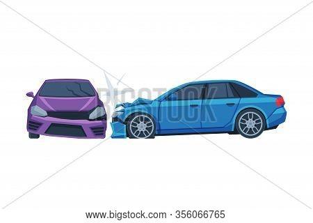 Two Automobiles Collision, Car Crash On Road, Auto Accident Flat Vector Illustration