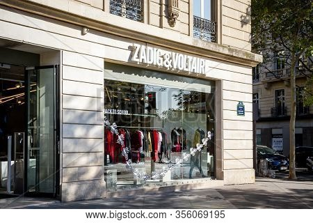 Paris/france - September 10, 2019 : The Zadig And Voltaire Fashion Store On Champs-elysees Avenue