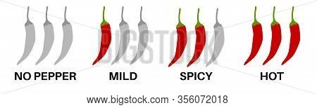 Spicy Chili Pepper Level Labels.  Spice Marks, No Pepper, Mild, Hot Food. Asian And Mexican Kitchen