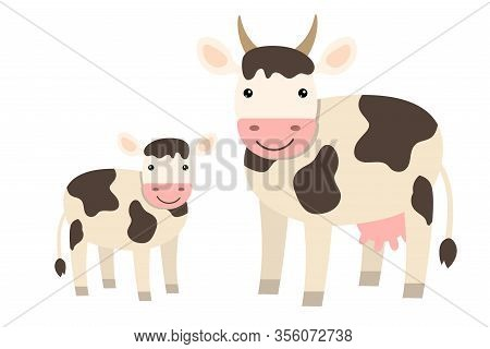 Cute Cartoon Cow Family In Flat Style Isolated On White Background. Farm Animals.  Vector Illustrati