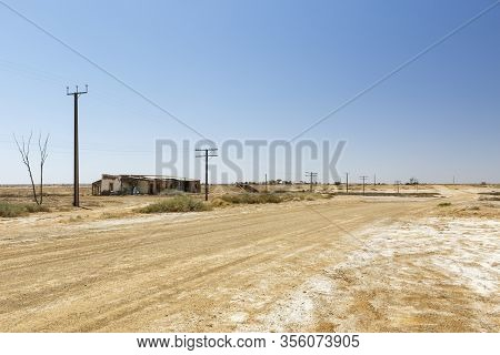 Marree Australian Outback Abandoned Derelict House On The Side Of A Deserted Dirt Road And Copy Spac