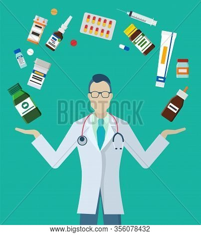 Practitioner Or Pharmacist Stand In Medical Gown With Stethoscope. Doctor Examine And Consults Peopl